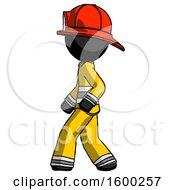 Black Firefighter Fireman Man Walking Left Side View