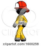 Black Firefighter Fireman Man Man Walking Turned Left Front View