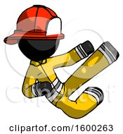 Black Firefighter Fireman Man Flying Ninja Kick Right