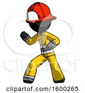 Black Firefighter Fireman Man Martial Arts Defense Pose Left
