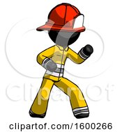 Black Firefighter Fireman Man Martial Arts Defense Pose Right