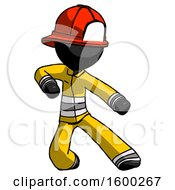 Black Firefighter Fireman Man Karate Defense Pose Right