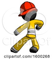 Black Firefighter Fireman Man Karate Defense Pose Left
