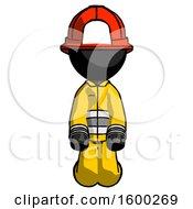 Black Firefighter Fireman Man Kneeling Front Pose