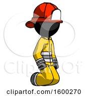 Black Firefighter Fireman Man Kneeling Angle View Right