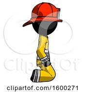 Black Firefighter Fireman Man Kneeling Right