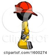 Black Firefighter Fireman Man Kneeling Left