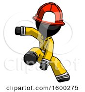 Black Firefighter Fireman Man Action Hero Jump Pose