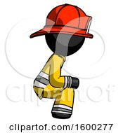 Black Firefighter Fireman Man Squatting Facing Right