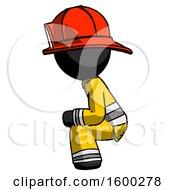 Black Firefighter Fireman Man Squatting Facing Left