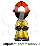 Black Firefighter Fireman Man Squatting Facing Front