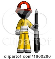 Black Firefighter Fireman Man Holding Large Pen