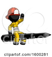 Black Firefighter Fireman Man Riding A Pen Like A Giant Rocket