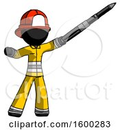 Black Firefighter Fireman Man Demonstrating That Indeed The Pen Is Mightier