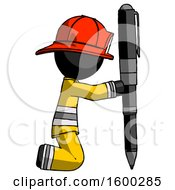 Black Firefighter Fireman Man Posing With Giant Pen In Powerful Yet Awkward Manner