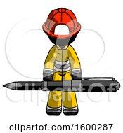 Black Firefighter Fireman Man Weightlifting A Giant Pen