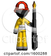 Poster, Art Print Of Black Firefighter Fireman Man Holding Giant Calligraphy Pen