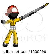 Black Firefighter Fireman Man Pen Is Mightier Than The Sword Calligraphy Pose