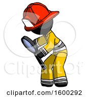 Black Firefighter Fireman Man Inspecting With Large Magnifying Glass Left