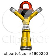 Black Firefighter Fireman Man With Arms Out Joyfully
