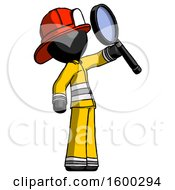Black Firefighter Fireman Man Inspecting With Large Magnifying Glass Facing Up