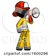 Black Firefighter Fireman Man Shouting Into Megaphone Bullhorn Facing Right