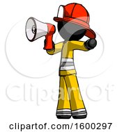 Black Firefighter Fireman Man Shouting Into Megaphone Bullhorn Facing Left