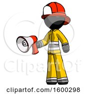 Black Firefighter Fireman Man Holding Megaphone Bullhorn Facing Right