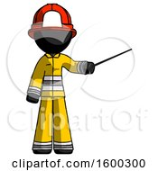 Black Firefighter Fireman Man Teacher Or Conductor With Stick Or Baton Directing