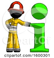Black Firefighter Fireman Man With Info Symbol Leaning Up Against It