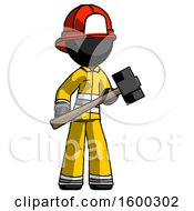 Black Firefighter Fireman Man With Sledgehammer Standing Ready To Work Or Defend