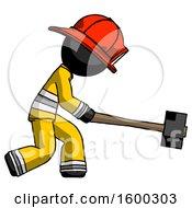 Black Firefighter Fireman Man Hitting With Sledgehammer Or Smashing Something