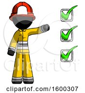 Black Firefighter Fireman Man Standing By List Of Checkmarks