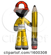 Black Firefighter Fireman Man With Large Pencil Standing Ready To Write