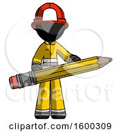 Black Firefighter Fireman Man Writer Or Blogger Holding Large Pencil