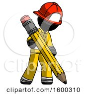 Black Firefighter Fireman Man Writing With Large Pencil