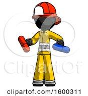 Black Firefighter Fireman Man Red Pill Or Blue Pill Concept