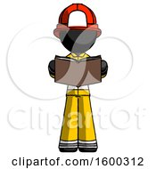 Poster, Art Print Of Black Firefighter Fireman Man Reading Book While Standing Up Facing Viewer