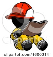 Poster, Art Print Of Black Firefighter Fireman Man Reading Book While Sitting Down