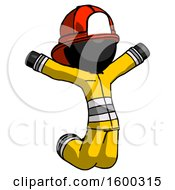Black Firefighter Fireman Man Jumping Or Kneeling With Gladness