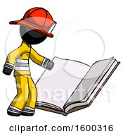 Black Firefighter Fireman Man Reading Big Book While Standing Beside It