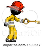 Black Firefighter Fireman Man With Big Key Of Gold Opening Something