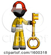 Black Firefighter Fireman Man Holding Key Made Of Gold