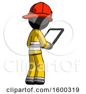 Black Firefighter Fireman Man Looking At Tablet Device Computer Facing Away
