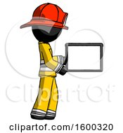 Black Firefighter Fireman Man Show Tablet Device Computer To Viewer Blank Area