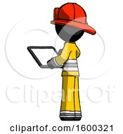 Black Firefighter Fireman Man Looking At Tablet Device Computer With Back To Viewer