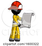 Black Firefighter Fireman Man Holding Blueprints Or Scroll