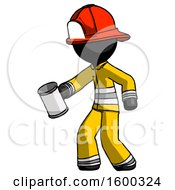 Black Firefighter Fireman Man Begger Holding Can Begging Or Asking For Charity Facing Left