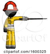 Black Firefighter Fireman Man Standing With Ninja Sword Katana Pointing Right