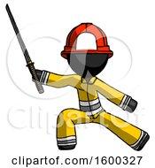 Black Firefighter Fireman Man With Ninja Sword Katana In Defense Pose